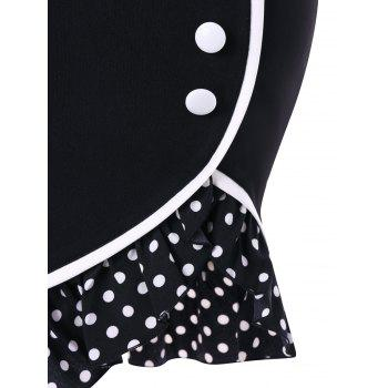 Polka Dot Printed Bowknot Back Mermaid Skirt - COLORMIX 2XL