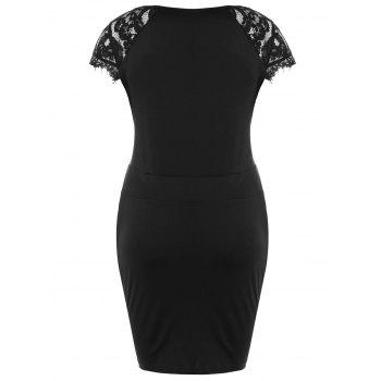 Plus Size Lace Panel Sweetheart Neck Bodycon Dress - BLACK 4XL