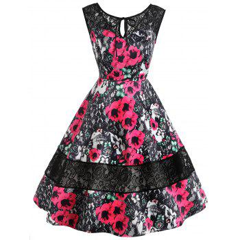Keyhole Floral Print Lace Insert Vintage Dress - RED RED