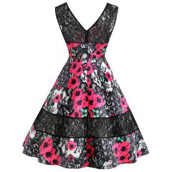 Keyhole Floral Print Lace Insert Vintage Dress - RED S
