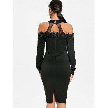 Mesh Panel Applique Cold Shoulder Bodycon Dress - BLACK M