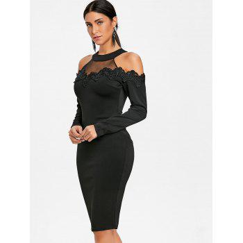 Mesh Panel Applique Cold Shoulder Bodycon Dress - BLACK L