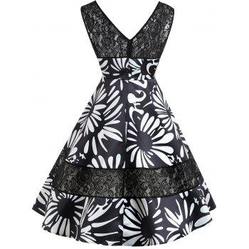 Keyhole Floral Print Lace Insert Vintage Dress - BLACK S