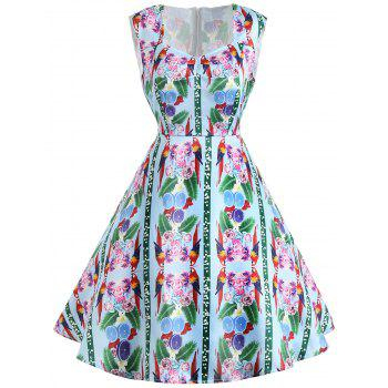Vintage Flower Print Sleeveless Dress - GREEN GREEN