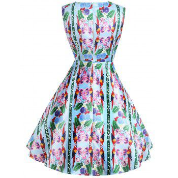 Vintage Flower Print Sleeveless Dress - GREEN L