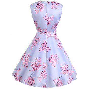 Vintage Flower Print Sleeveless Dress - LIGHT PURPLE L