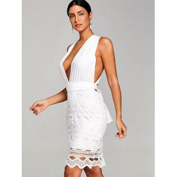 Scalloped Crochet Plunging Club Dress - WHITE S