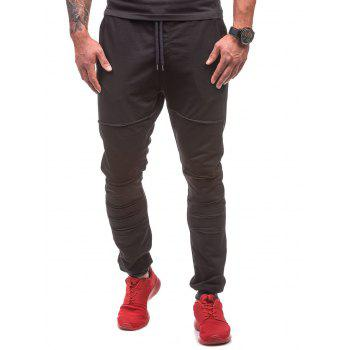 Destroyed Drawstring Waist Jogger Sweatpants - BLACK BLACK