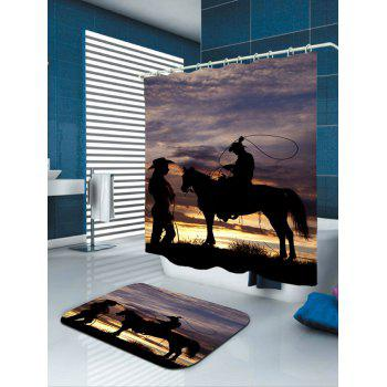 West Cowboys Sunset Print Polyester Shower Curtain - GRAY W71 INCH * L79 INCH