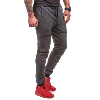Destroyed Drawstring Waist Jogger Sweatpants - DEEP GRAY DEEP GRAY