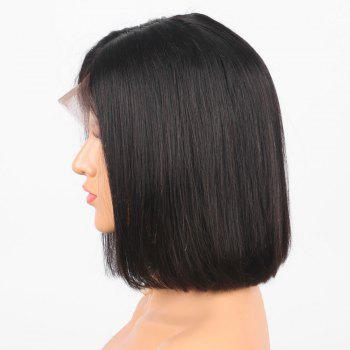 Center Parting Short Straight Bob Human Hair Lace Front Wig -  NATURAL BLACK