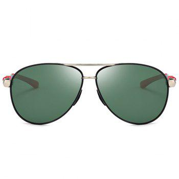 Anti-fatigue Full Frame Crossbar Pilot Sunglasses - BLACKISH GREEN