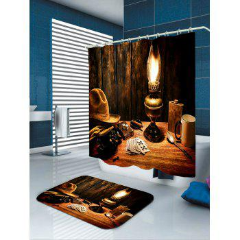 Cowboy Hat Lamp Printed Bath Curtain - DEEP BROWN W71 INCH * L79 INCH