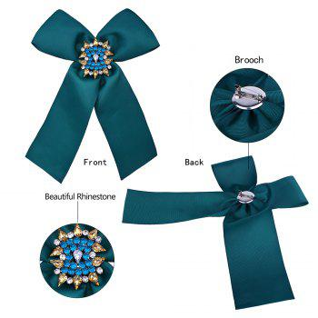 Bowknot Corsage Diamante Brooch -  GREEN
