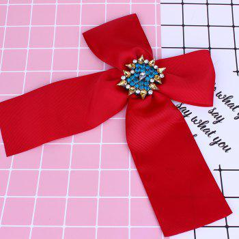 Bowknot Corsage Diamante Brooch - RED