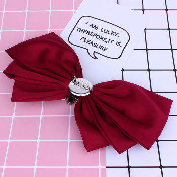 Faux Crystal Embellished Bowknot Fabric Corsage Brooch - BRIGHT RED
