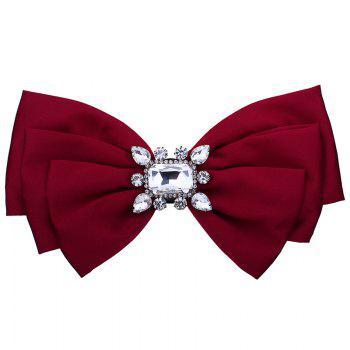 Faux Crystal Embellished Bowknot Fabric Corsage Brooch - BRIGHT RED BRIGHT RED