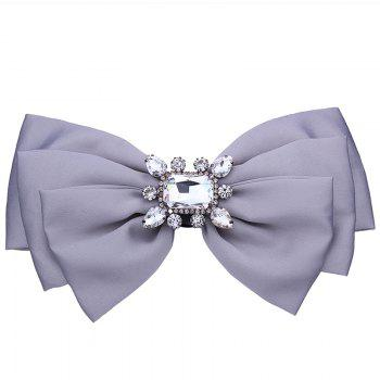 Faux Crystal Embellished Bowknot Fabric Corsage Brooch - GRAY GRAY