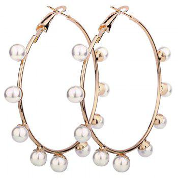 Unique Faux Pearl Circle Hoop Earrings - GOLDEN GOLDEN