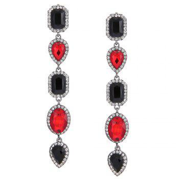 Faux Crystal Geometric Layered Long Dangle Earrings - RED RED