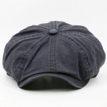 Simple Washed Pattern Embellished Octagonal Hat - GRAY