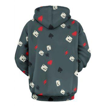 Dice and Poker Pattern Pullover Hoodie - GRAY 3XL
