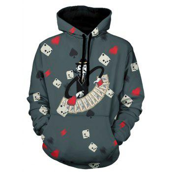 Dice and Poker Pattern Pullover Hoodie - GRAY GRAY