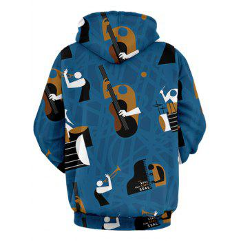 Musical Instruments Print Pullover Hoodie - BLUE XL