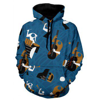 Musical Instruments Print Pullover Hoodie - BLUE BLUE