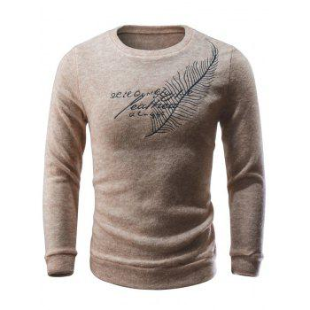 Crew Neck Leaf Embroidery Sweater - BEIGE BEIGE