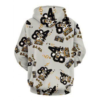 Kangaroo Pocket Graphic Print Drawstring Hoodie - BEIGE 2XL