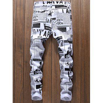 Newspapers Pattern Narrow Feet Jeans - WHITE 32