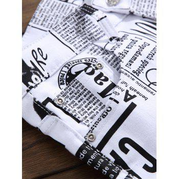 Newspapers Pattern Narrow Feet Jeans - WHITE 38