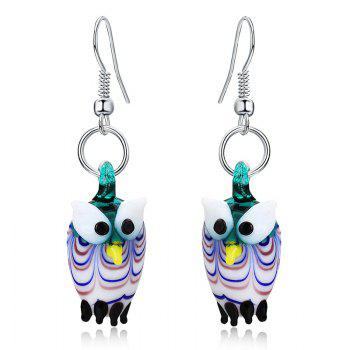 Owl Shape Glass Necklace with Earrings - COLORMIX