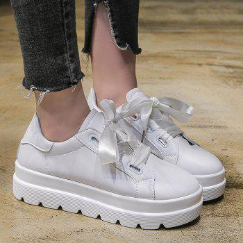 Faux Leather Platform Heel Sneakers - WHITE 38