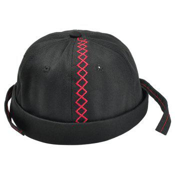 Unique Rhombus Pattern Embroidery Landlord Hat - BLACK BLACK