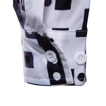 3D Geometric Florals Print Cover Placket Shirt - WHITE 2XL