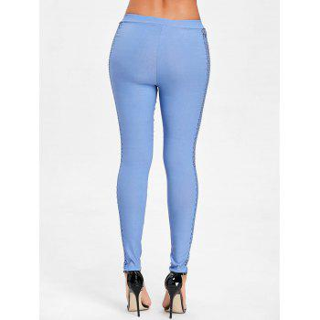 Cross Fishnet Side Pants - BLUE L