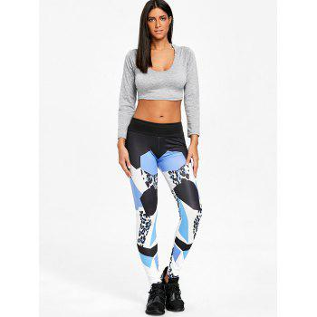 Geometric Pattern High Rise Yoga Leggings - BLUE XL