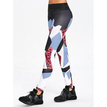 Geometric Pattern High Rise Yoga Leggings - RED RED