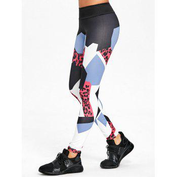 Geometric Pattern High Rise Yoga Leggings - RED S