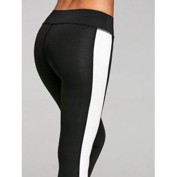High Rise Two Tone Workout Leggings - BLACK M