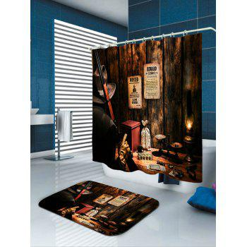 Western Cowboy Hunter Print Bath Curtain - BROWN W59 INCH * L71 INCH