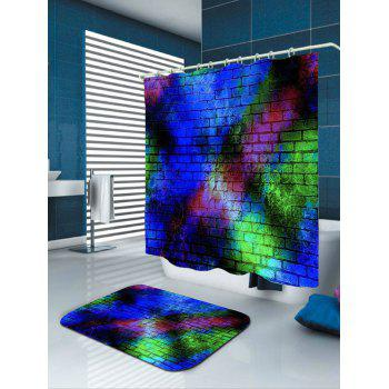 Colorful Brick Wall Print Waterproof Shower Curtain - COLORFUL COLORFUL