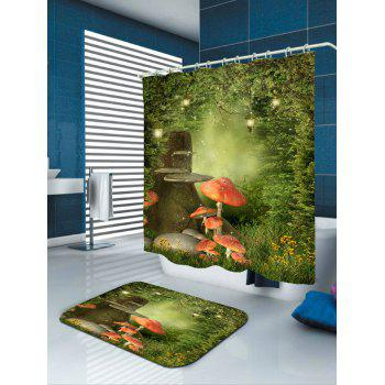 Waterproof Fantasy Forest Mushroom Print Shower Curtain - COLORFUL W71 INCH * L71 INCH