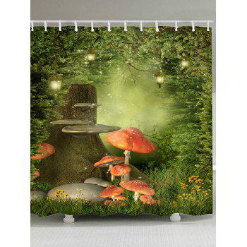 Waterproof Fantasy Forest Mushroom Print Shower Curtain - COLORFUL COLORFUL