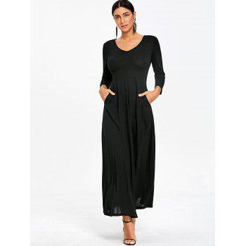 V Neck Empire Waist Maxi Dress - BLACK L