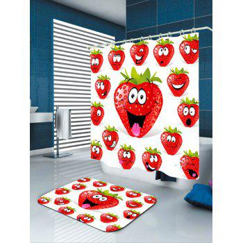 Strawberry Funny Emoji Pattern Shower Curtain - RED W71 INCH * L71 INCH
