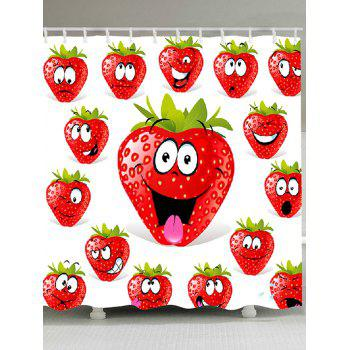 Strawberry Funny Emoji Pattern Shower Curtain - RED RED
