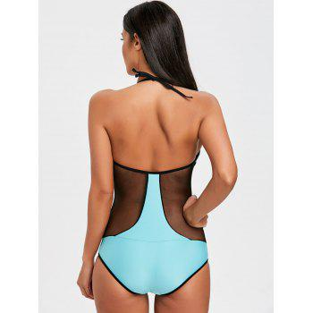One Piece Two Tone Fishnet Panel Swimsuit - LAKE GREEN LAKE GREEN